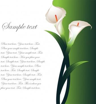 calla lily card background modern elegant realistic decor