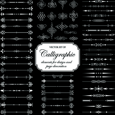 calligraphic and decoration elements vector set