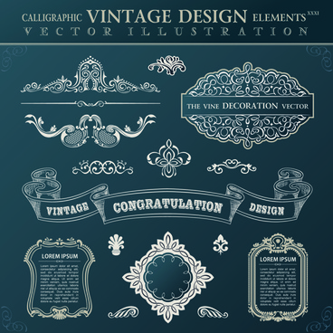 calligraphic decor vintage elements vector
