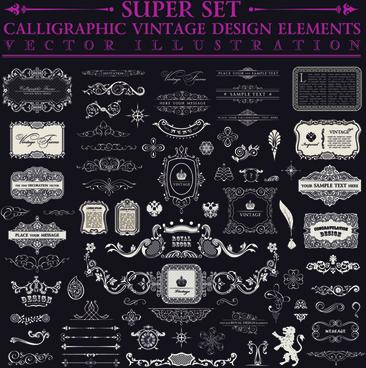 calligraphic decor vintage elements vector
