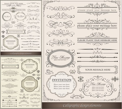 calligraphic design elements frame with borders vectors