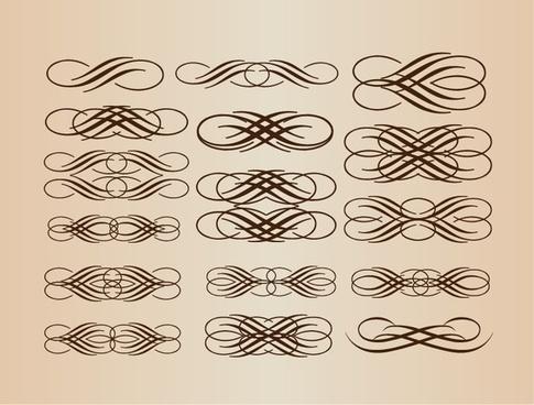calligraphic elements vector set