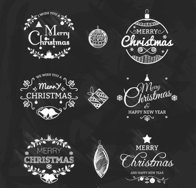 calligraphy christmas and new year labels vector