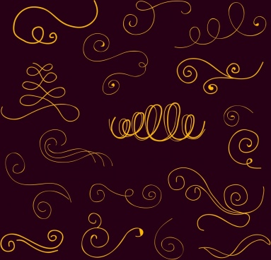 calligraphy design elements yellow curves sketch