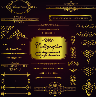 calligraphy gold design elements vector