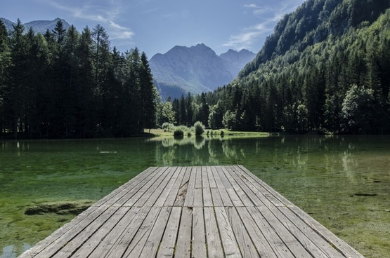 calm clear deck dock forest holiday lake landscape