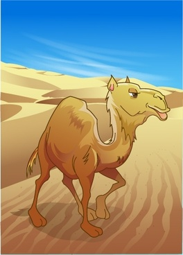 desert painting camel icon colored cartoon design