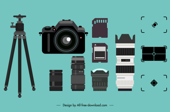 camera devices components icons modern sketch