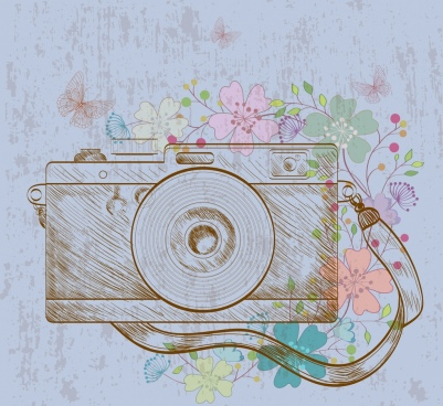 camera drawing retro handdrawn design