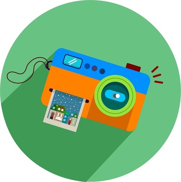 camera icon with colored design style