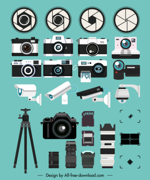 camera icons colored modern lens devices accessories sketch