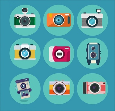 camera icons isolated in various colored styles