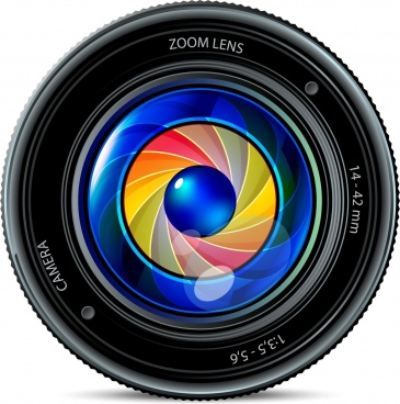camera len icon shiny colorful realistic design