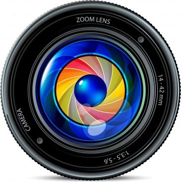 camera len icon shiny colorful realistic design