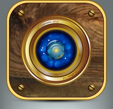 camera lens background shiny brown wooden blue bokeh