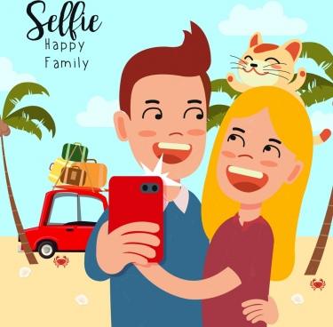 camera selfie advertising joyful couple cute cartoon design