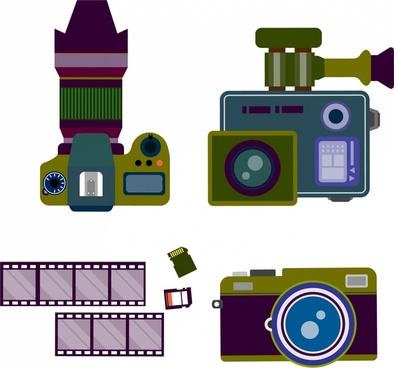 camera symbols sets various colored types