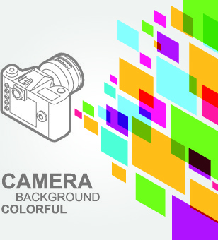 camera with colorful background vector