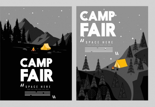 camp fair flyer template mountain night icons dark decor