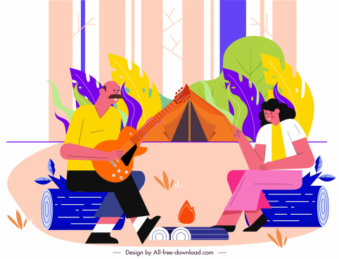 camping activity painting joyful couple sketch cartoon design