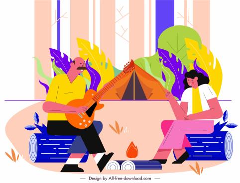 camping activity painting joyful couple sketch cartoon design