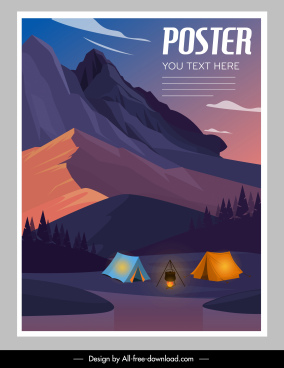 camping activity poster mountain scene sketch colorful design