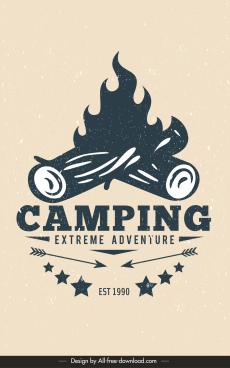 camping adventure poster retro design flaming wood sketch