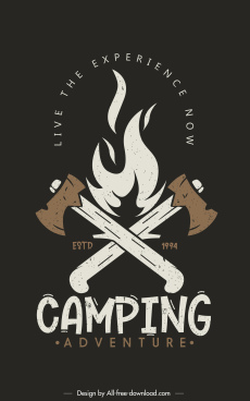 camping adventure poster template retro fire axes sketch