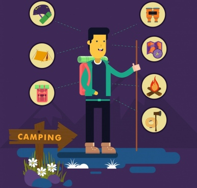 camping advertising personal accessories icons colored cartoon design
