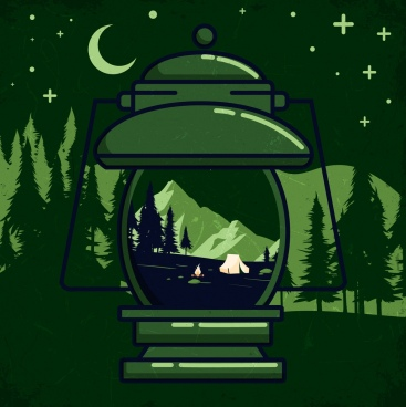camping background green design lamp tent mountain icons