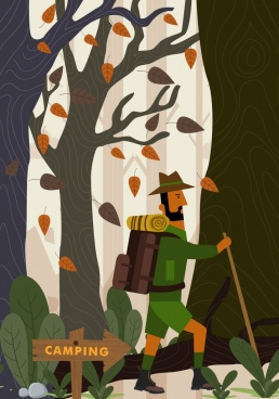 camping background male hiker forest icons colored cartoon
