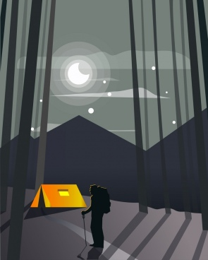 camping background moonlight tent hiker icons dark 3d