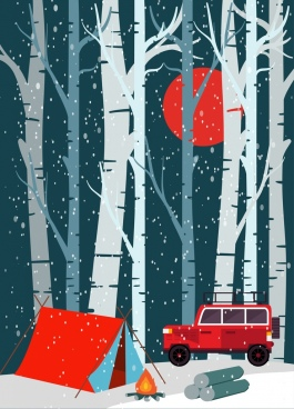 camping background tent car icons snowy jungle backdrop
