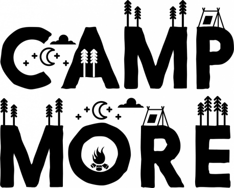 camping background tent moon icons black words decoration