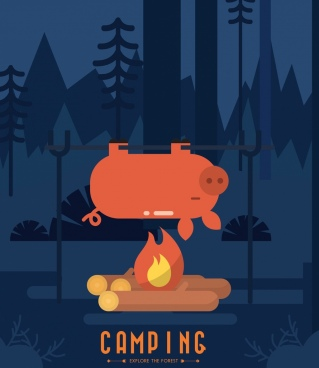 camping banner pig roast campfire icons decor