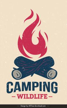 camping banner template retro design campfire sketch