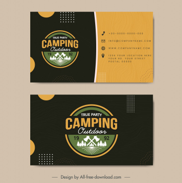 camping business card template flat contrast classic design