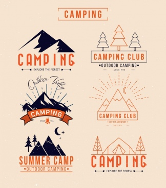 camping club logotypes mountain tree icons classical design