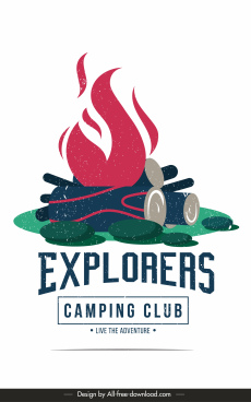 camping club poster template retro colored fire wood