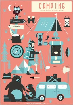 camping design elements classical icons design