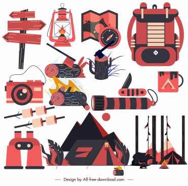 camping design elements colored objects black red decor