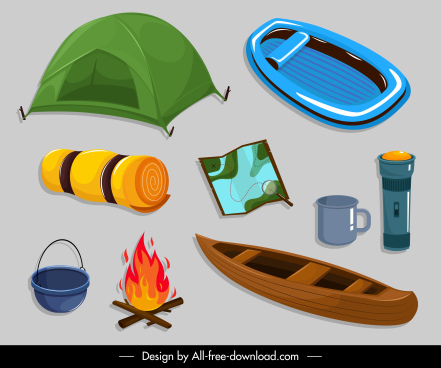 camping design elements exploration objects sketch