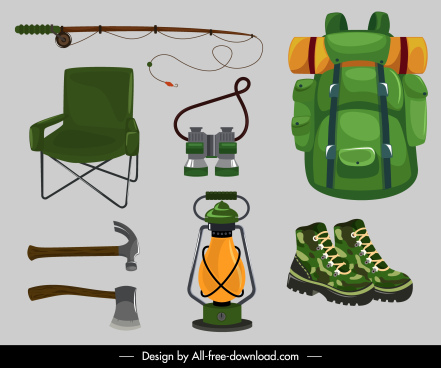 camping design elements personal tools sketch