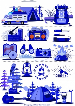 camping design elements personal tools sketch blue design