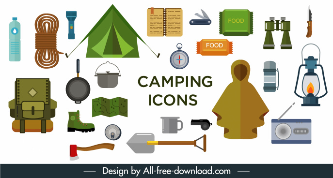 camping design elements utensil icons sketch flat design
