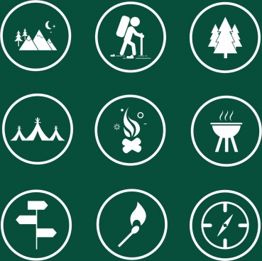 camping icons collection flat emblem isolation