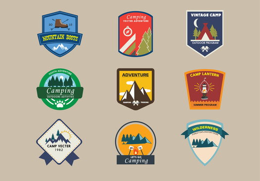 camping logo sets in vintage style illustration