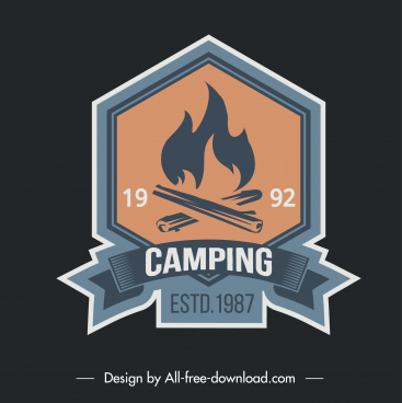 camping logo template camp fire sketch classical design