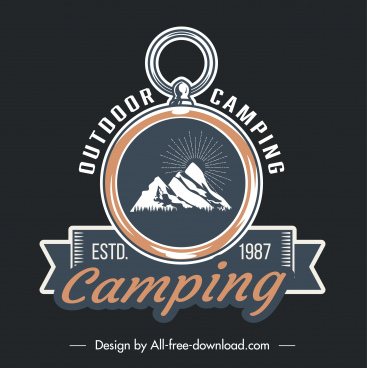 camping logo template classical ring ribbon mountain sketch