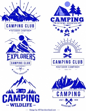 camping logo templates blue retro sketch